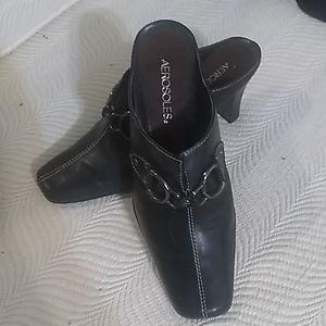 Aerosoles black mules buckle embellish